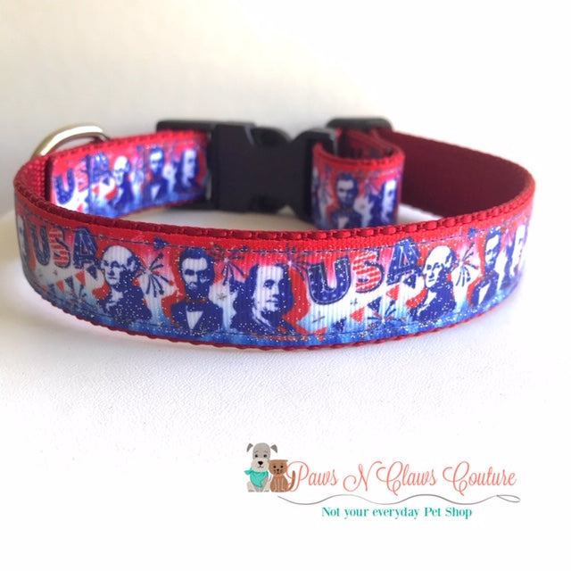 "1"" USA, Mount Rushmore Dog Collar - Paws N Claws Couture"