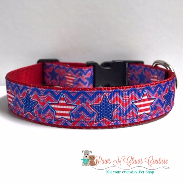 "1"" Chevron Blue and Red with Stars Dog Collar - Paws N Claws Couture"