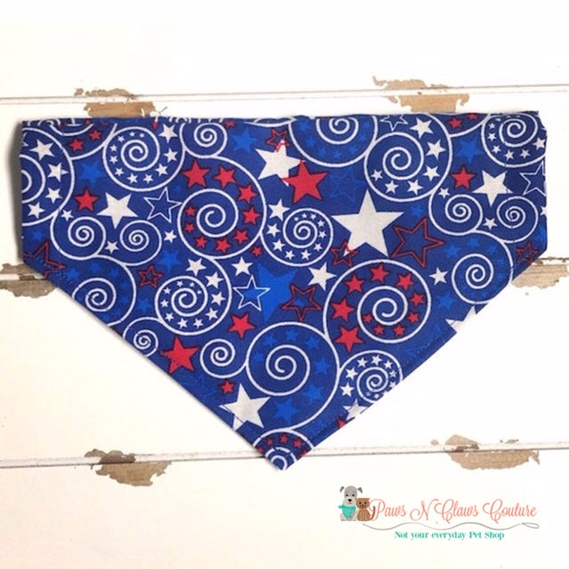 4th of July Swirls Bandana - Paws N Claws Couture