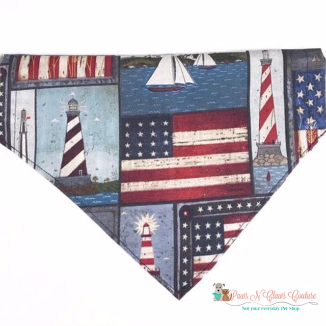 Lighthouse & Flags Bandana - Paws N Claws Couture
