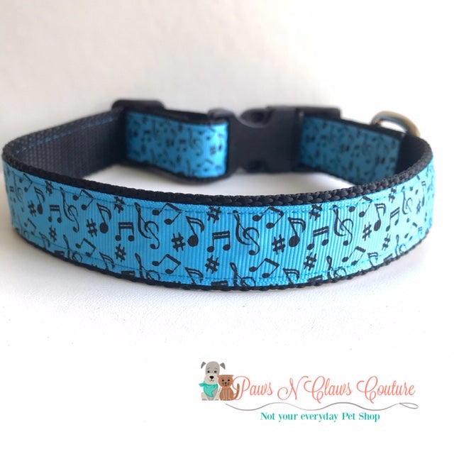 "1"" Music Notes on Blue Dog Collar - Paws N Claws Couture"