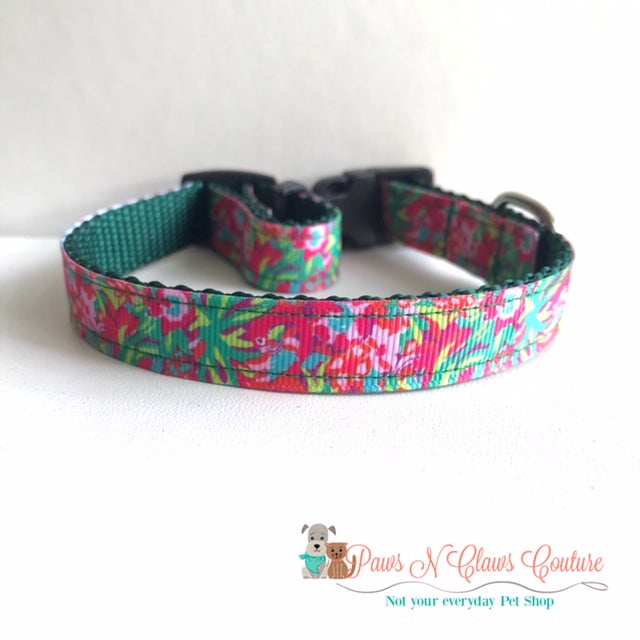 "5/8"" Ferns & Flamingos lily inspired Dog Collar - Paws N Claws Couture"