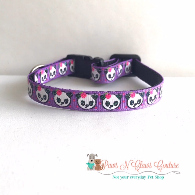 "3/8"" Pandas on Purple Cat or Small Dog Collar - Paws N Claws Couture"