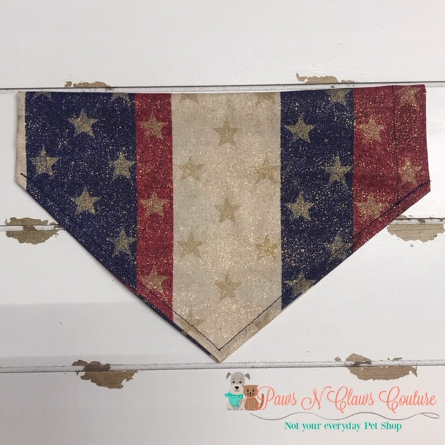 Glitter Stars and Vertical Stripes Bandana - Paws N Claws Couture