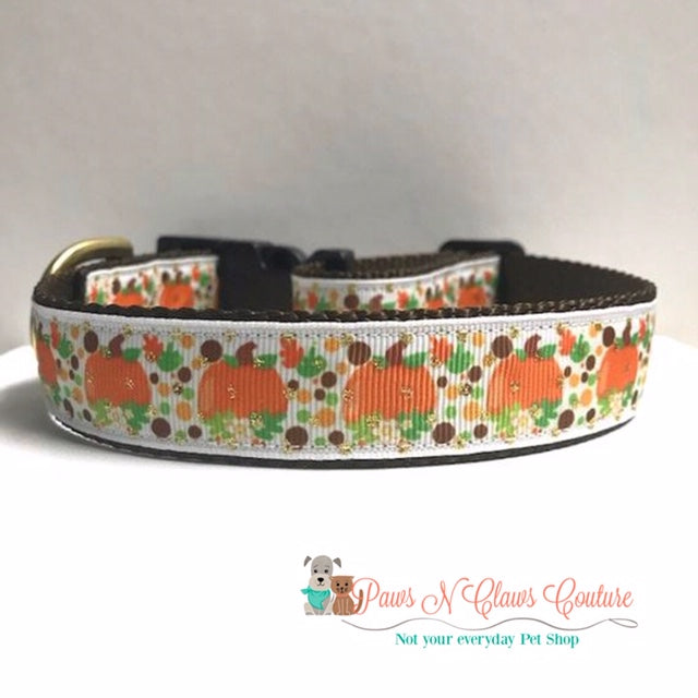"1"" Pumpkins and Autumn Dots Dog Collar - Paws N Claws Couture"