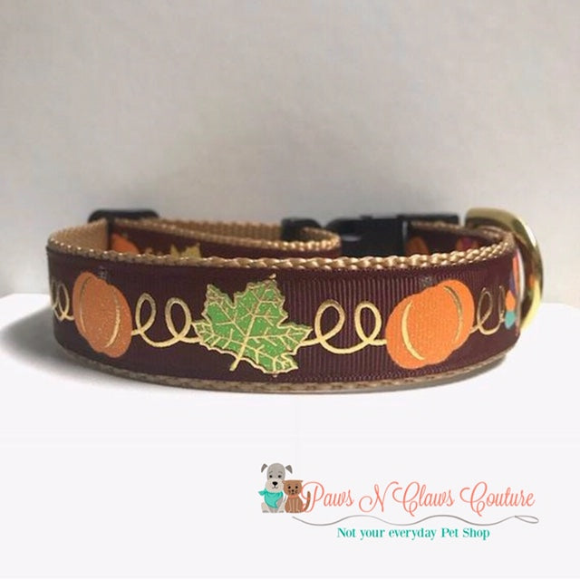 "1""  Pumpkins, Leaves and Turkeys Dog Collar - Paws N Claws Couture"