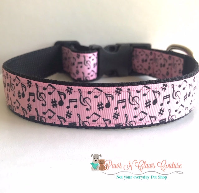 "1"" Music Notes on Pink Dog Collar - Paws N Claws Couture"