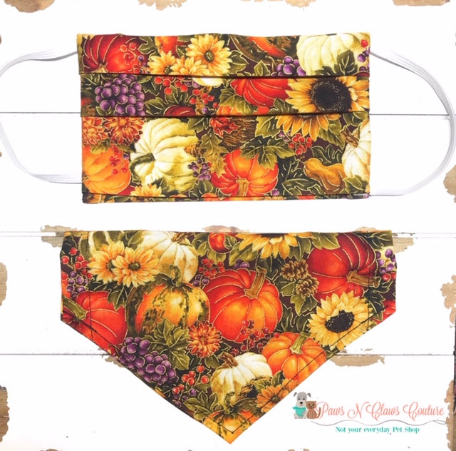 Fall Pumpkins and Sunflowers Mask, Bandana (Each Sold Separately, not sold as a set) - Paws N Claws Couture