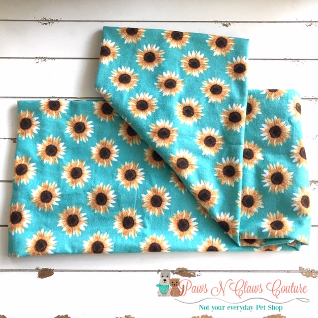 Sunflowers on Teal Scarf or Bandana - Paws N Claws Couture
