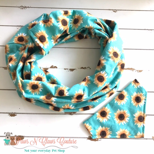 Sunflowers on Teal Scarf or Bandana