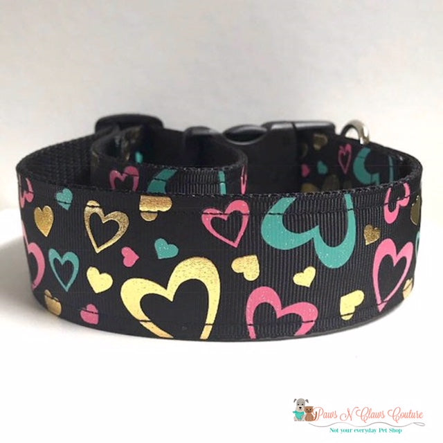 "1.5"" Teal, Pink & Gold Hearts Dog Collar"