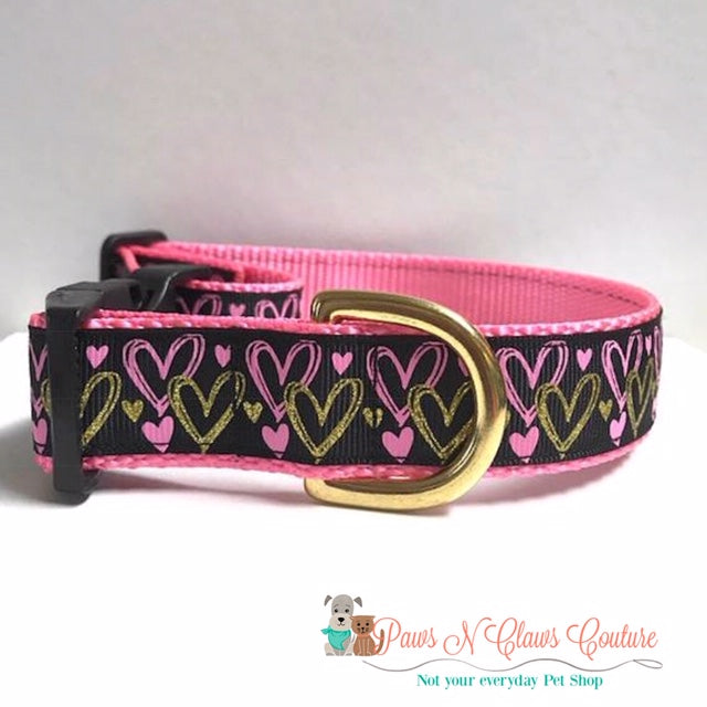 "1"" Stealing Hearts like Cupid or Pink/Gold Hearts Dog Collar - Paws N Claws Couture"