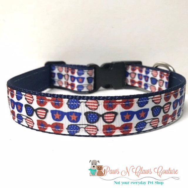 "1"" American Beauty or Mini Sunglasses Dog Collar - Paws N Claws Couture"