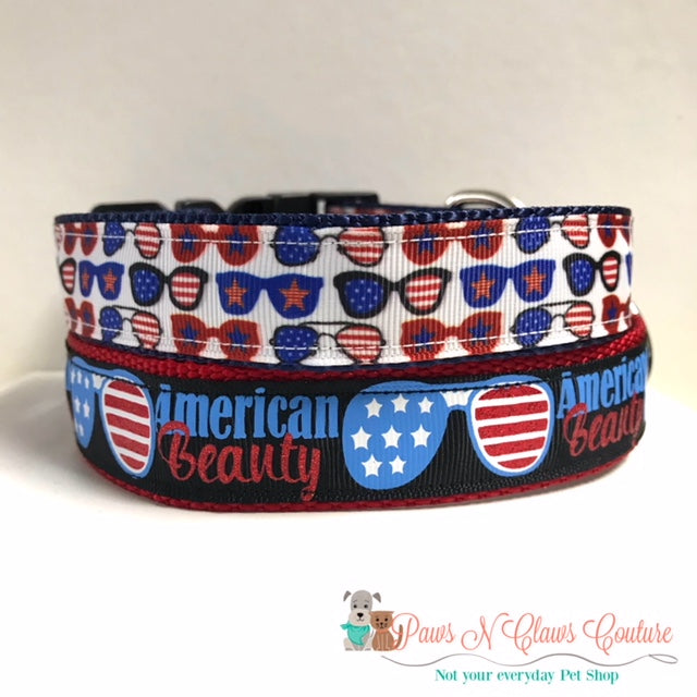 "1"" American Beauty or Mini Sunglasses Dog Collar"