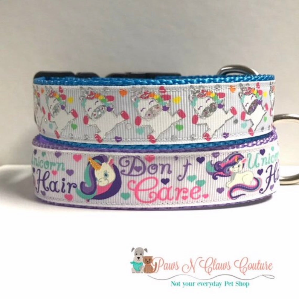 "1"" Unicorn Hair Don't care or Jumping Unicorn Dog Collar - Paws N Claws Couture"