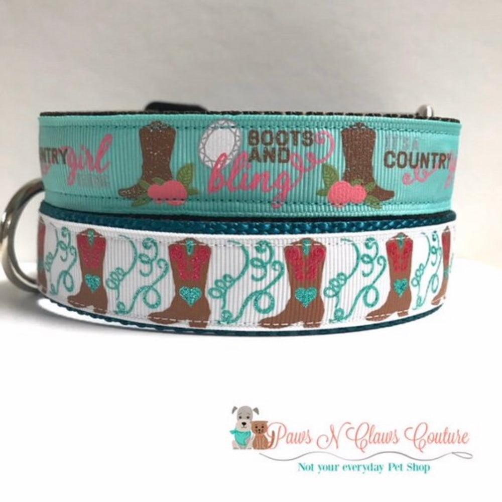 "1"" Boots & Bling or Cowgirl Boots Dog Collar - Paws N Claws Couture"