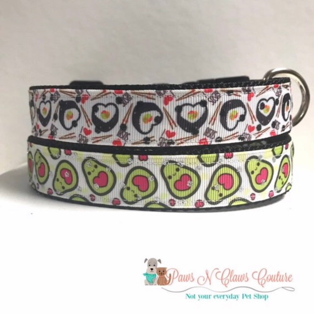 "1"" Heart Sushi or Avocado Dog Collar"