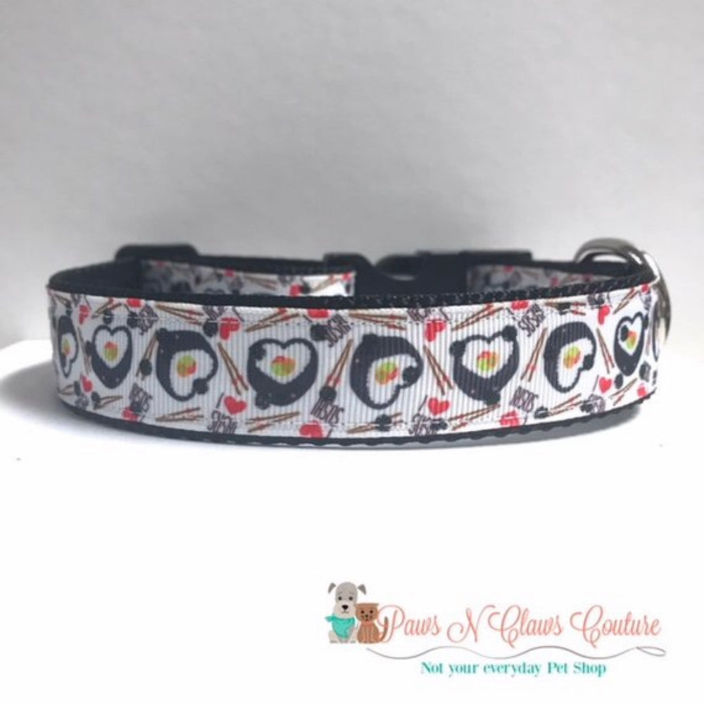 "1"" Heart Sushi or Avocado Dog Collar - Paws N Claws Couture"