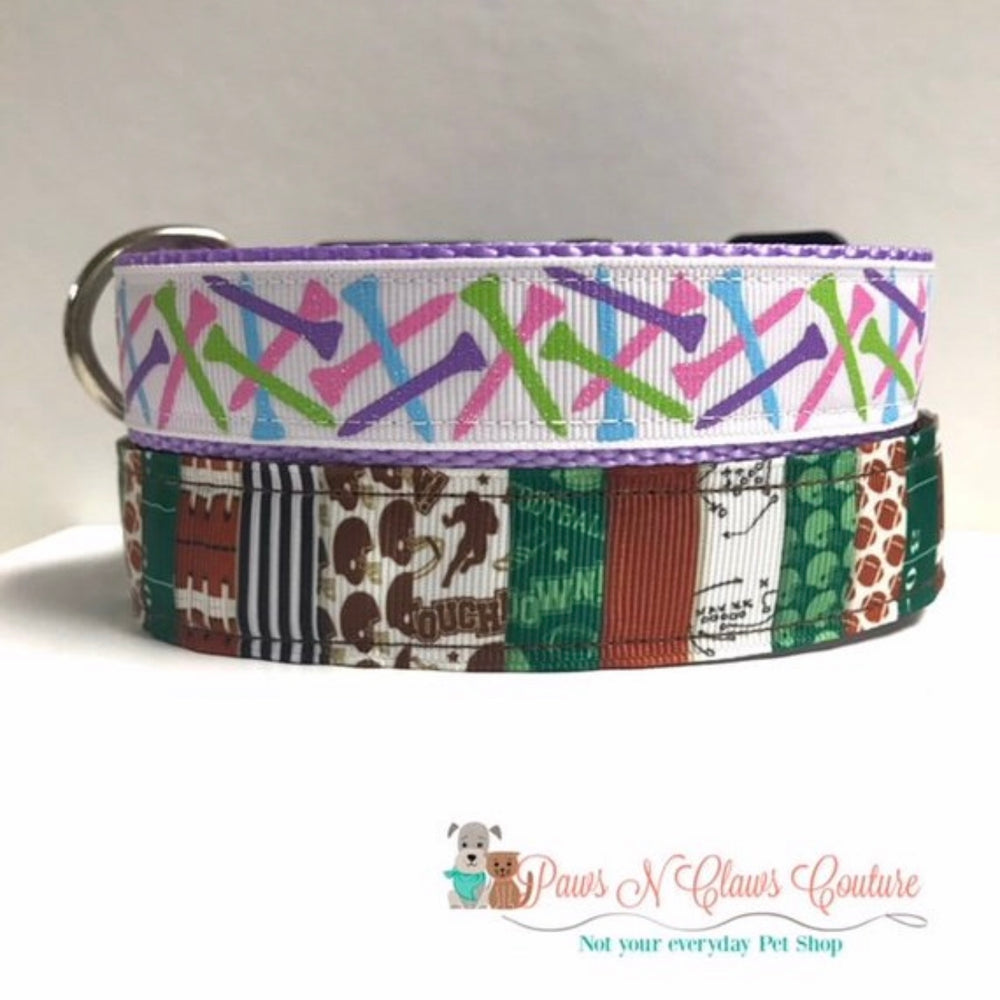 "1"" Football Patchwork or Golf tee Dog Collar"