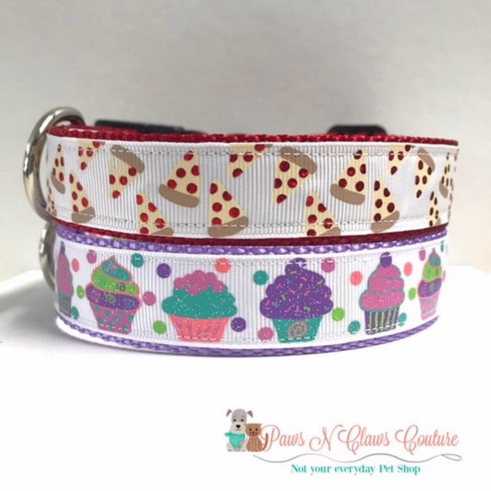 "1"" Pastel Cupcakes or Pizza Slices Dog Collar"