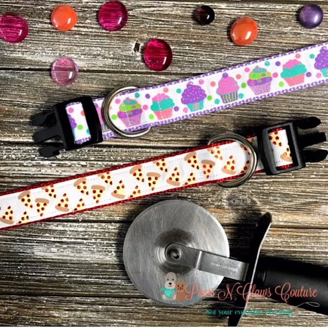 "1"" Pastel Cupcakes or Pizza Slices Dog Collar - Paws N Claws Couture"