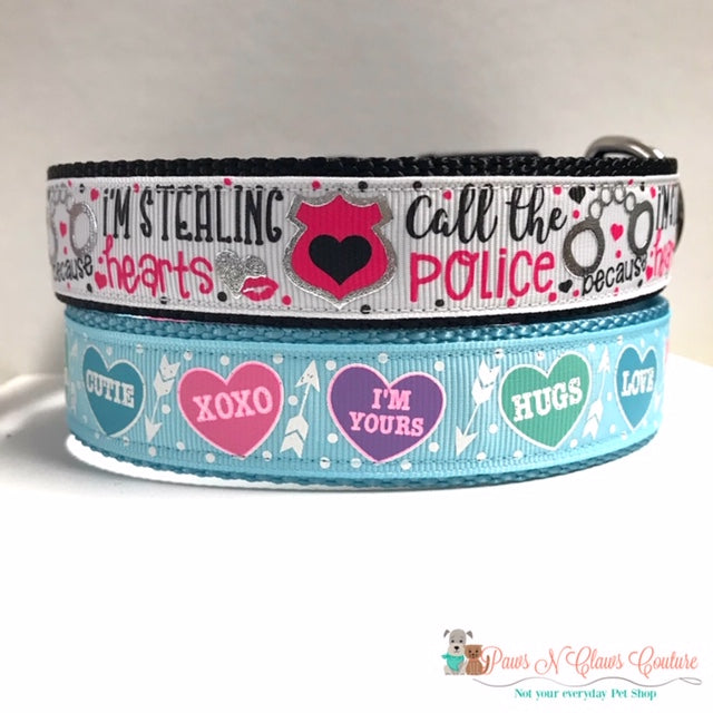 "1"" Conversation Hearts or Stealing Hearts Dog Collar"