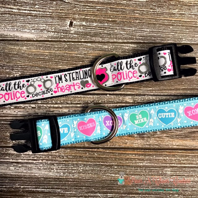 "1"" Conversation Hearts or Stealing Hearts Dog Collar - Paws N Claws Couture"