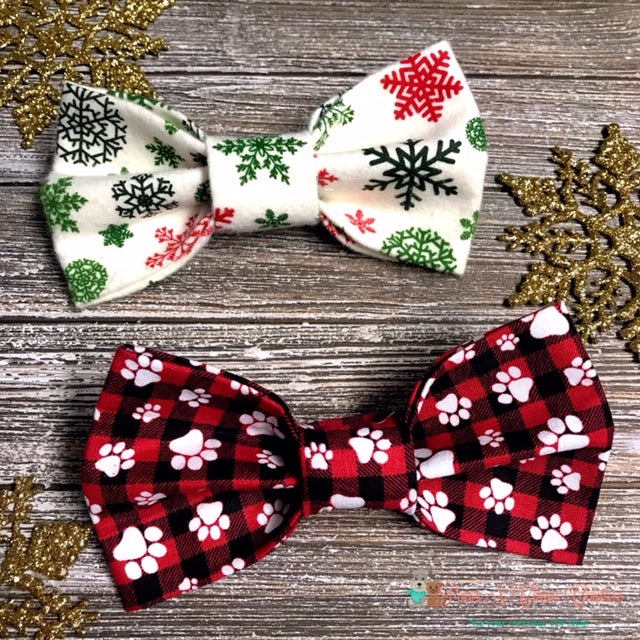 Winter Bow Ties - Paws N Claws Couture