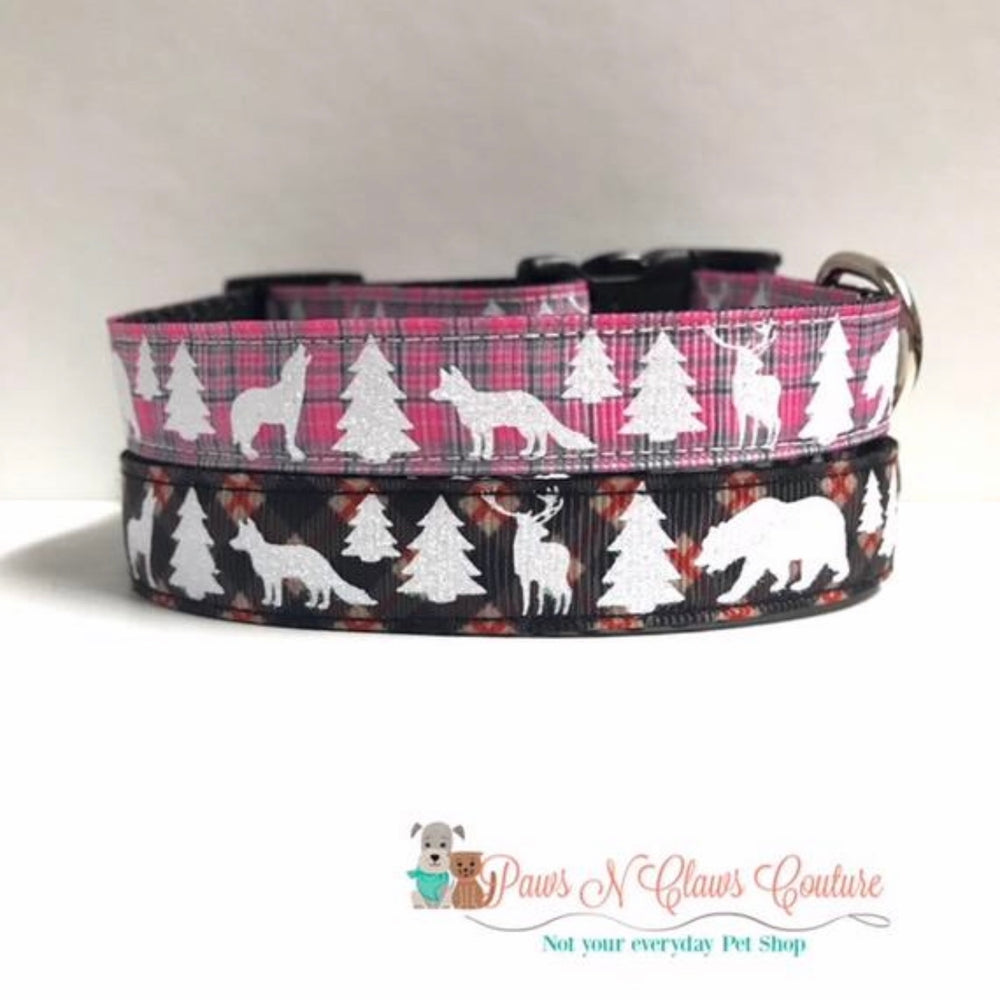 "5/8"" Pink or Black Glitter Animal Plaid Dog Collar"