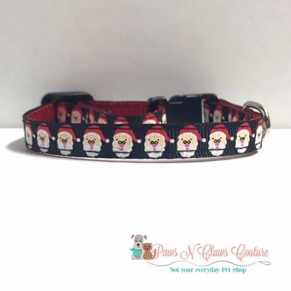 "3/8"" Santa Faces Cat or Small Dog Collar - Paws N Claws Couture"
