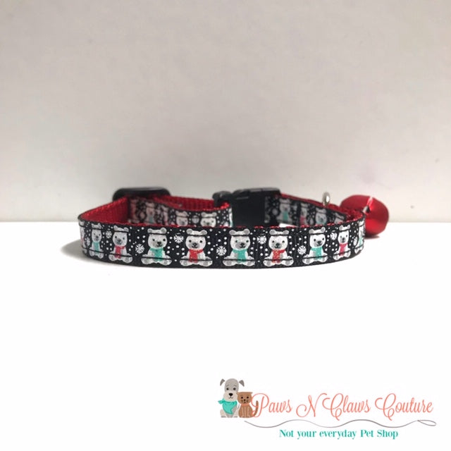 "3/8"" Winter Polar Bears Cat or Small Dog Collar - Paws N Claws Couture"