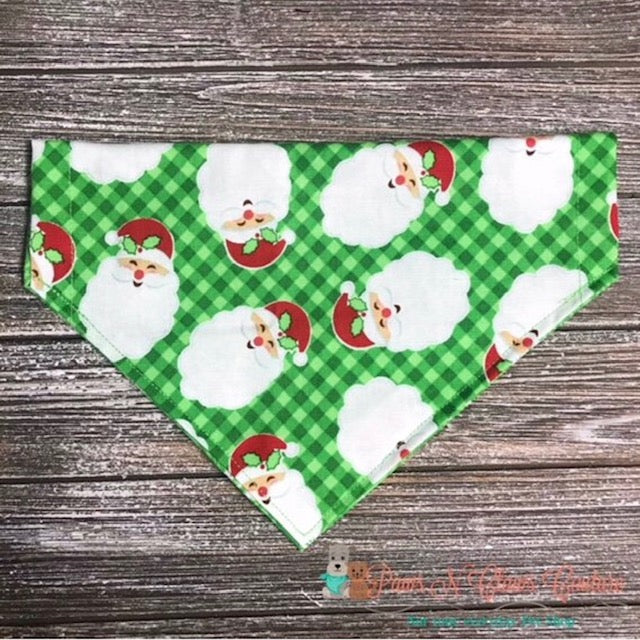 Reversible Santa & Snowflakes on Green Bandana - Paws N Claws Couture