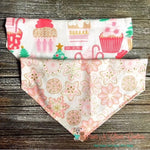 Reversible Christmas Cupcake & Glitter Snowflakes Bandana - Paws N Claws Couture
