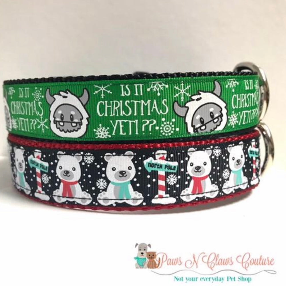 "1"" Christmas Yeti or Polar Bears Dog Collar"