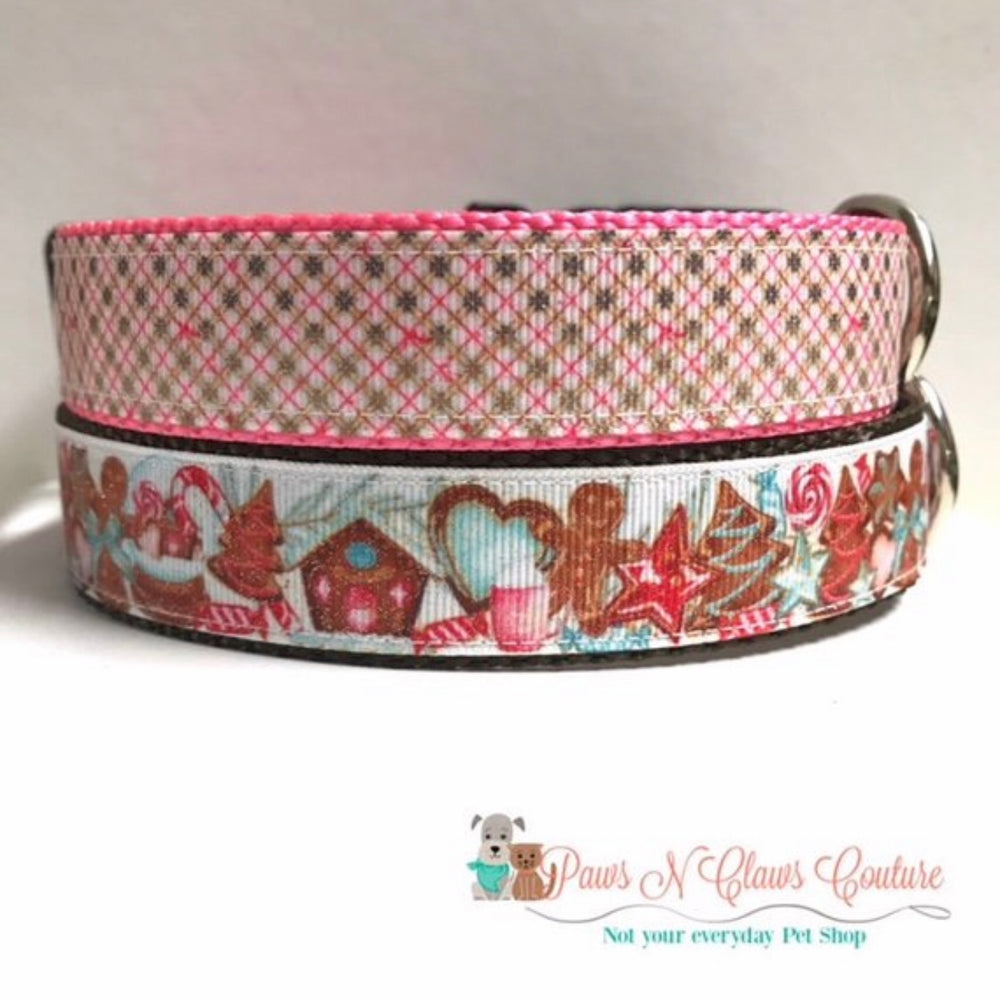 "1"" Glitter Gingerbread Cookies or Pink Plaid Dog Collar"