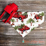 Red Trucks on Snowy Day Bandana - Paws N Claws Couture