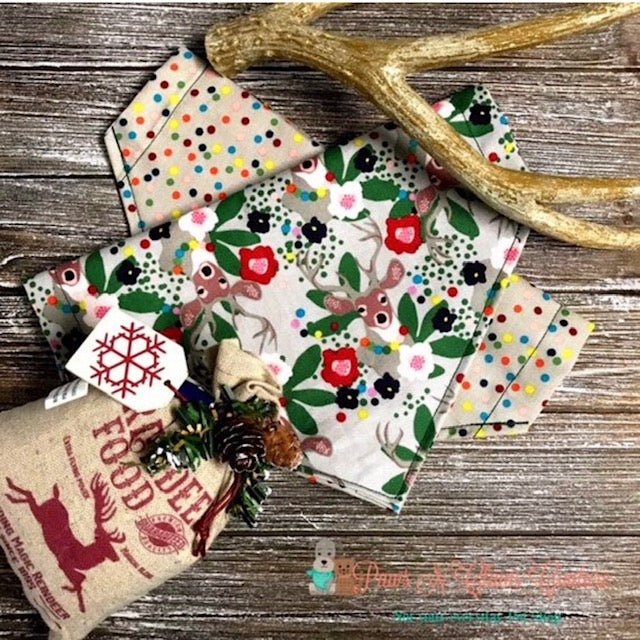 Reversible Christmas Deer and Dots Bandana - Paws N Claws Couture