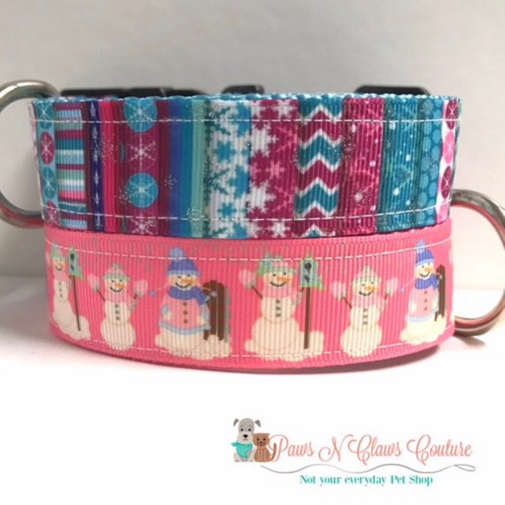 "1"" Snowflakes & Glitter or Snowman on Pink Dog Collar"