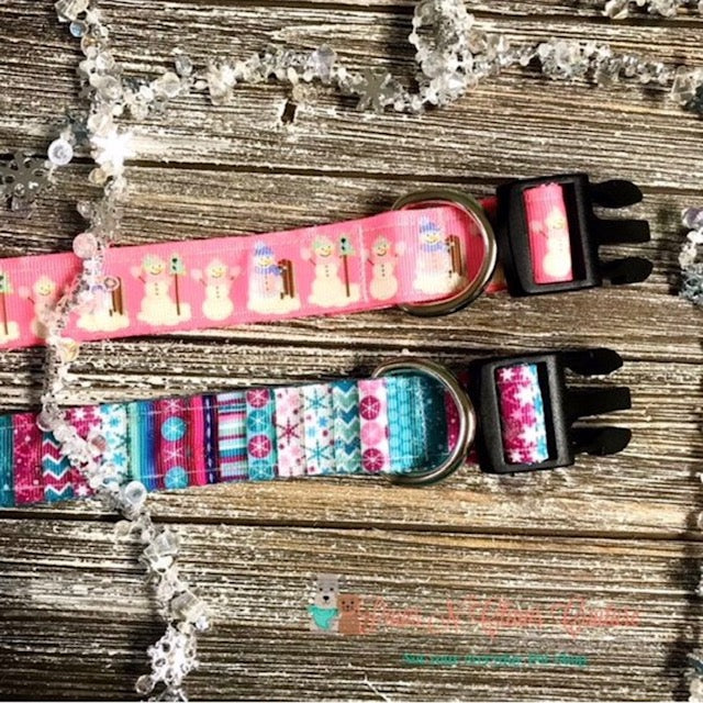 "1"" Snowflakes & Glitter or Snowman on Pink Dog Collar - Paws N Claws Couture"
