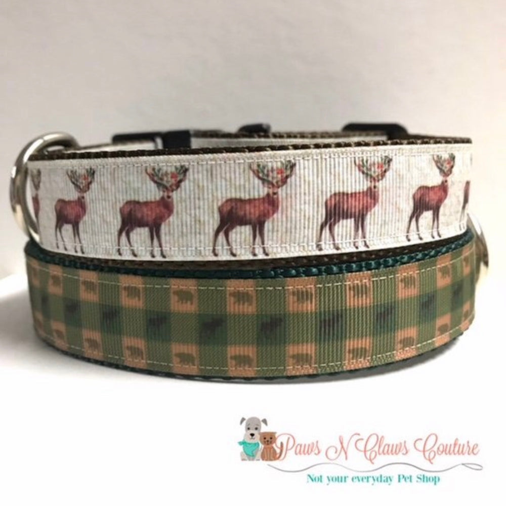 "1"" Christmas Reindeer or Plaid Bear and Moose Dog Collar"
