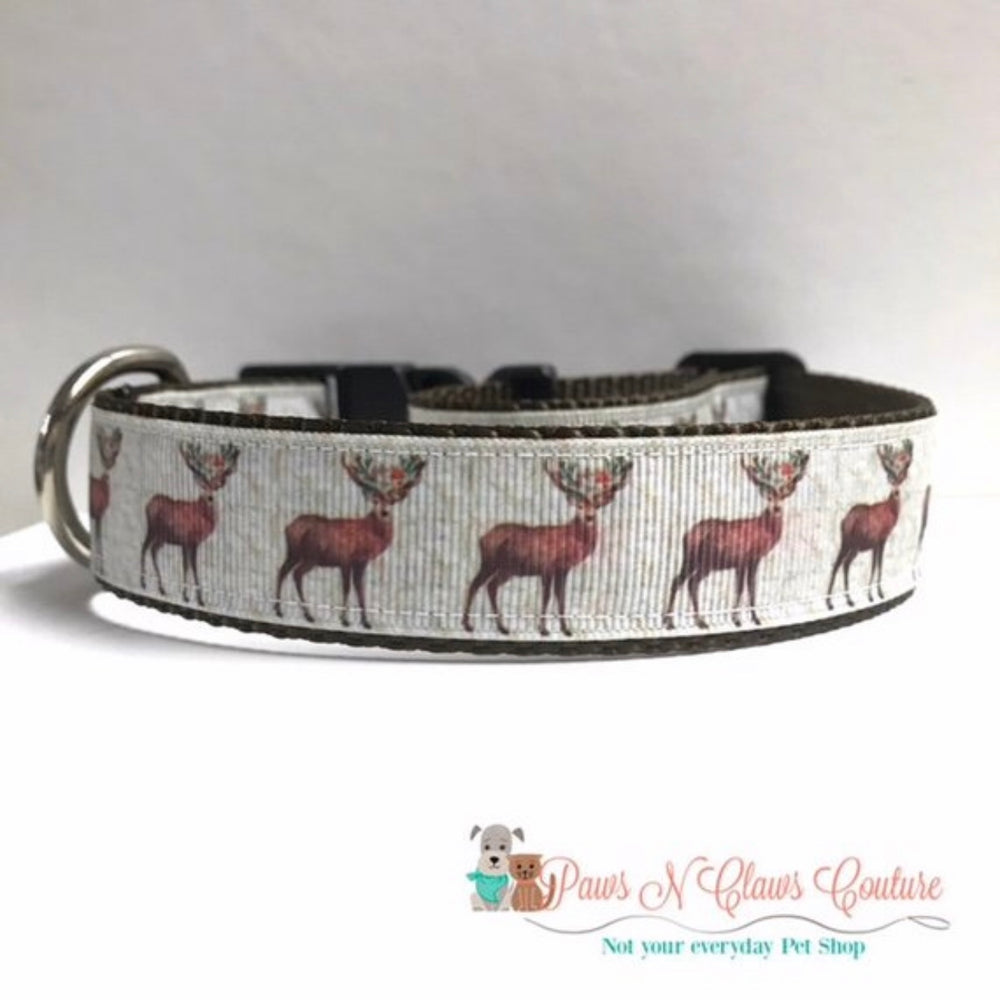"1"" Christmas Reindeer or Plaid Bear and Moose Dog Collar - Paws N Claws Couture"