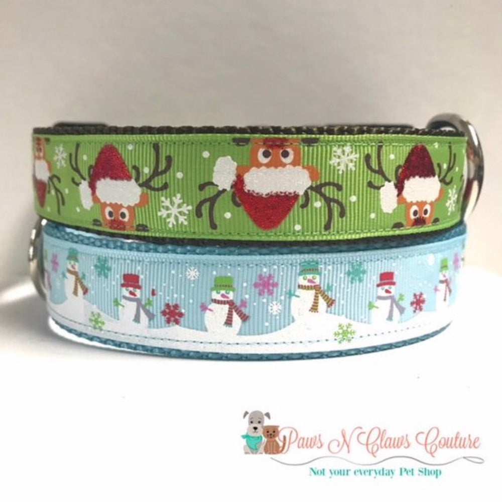 "1"" Snowman or Deer in Santa hat (Leash Available) Dog Collar"