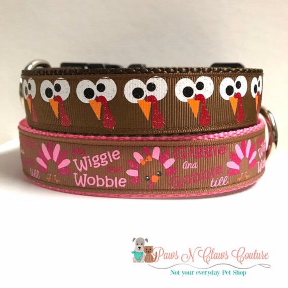 "1"" Wiggle and Wobble or Silly Turkey eyes Dog Collar"