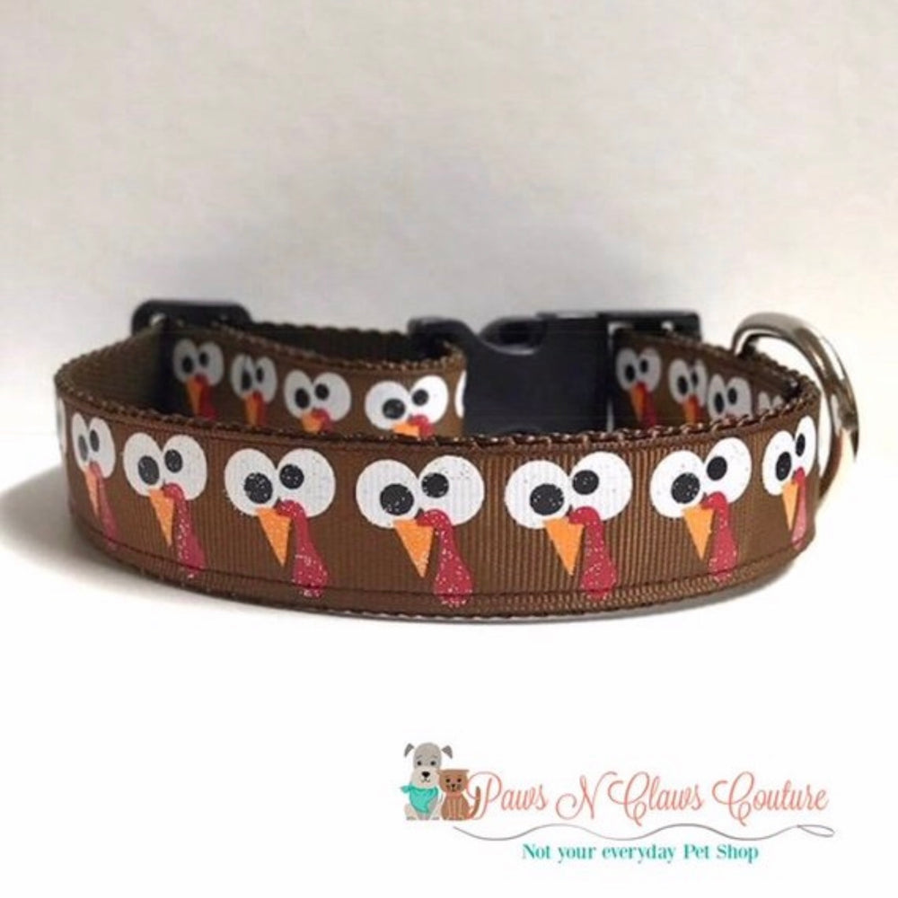 "1"" Wiggle and Wobble or Silly Turkey eyes Dog Collar - Paws N Claws Couture"
