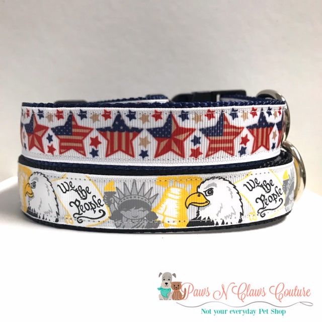"1"" American Stars or The People Dog Collar"