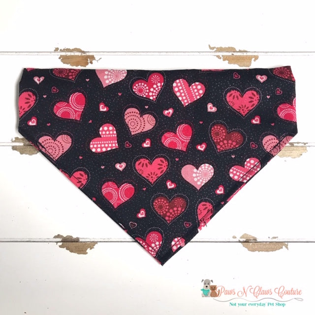 Glitter Patterned Hearts on Black Bandana