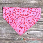 Glitter Swirls and Hearts on Pink Bandana - Paws N Claws Couture
