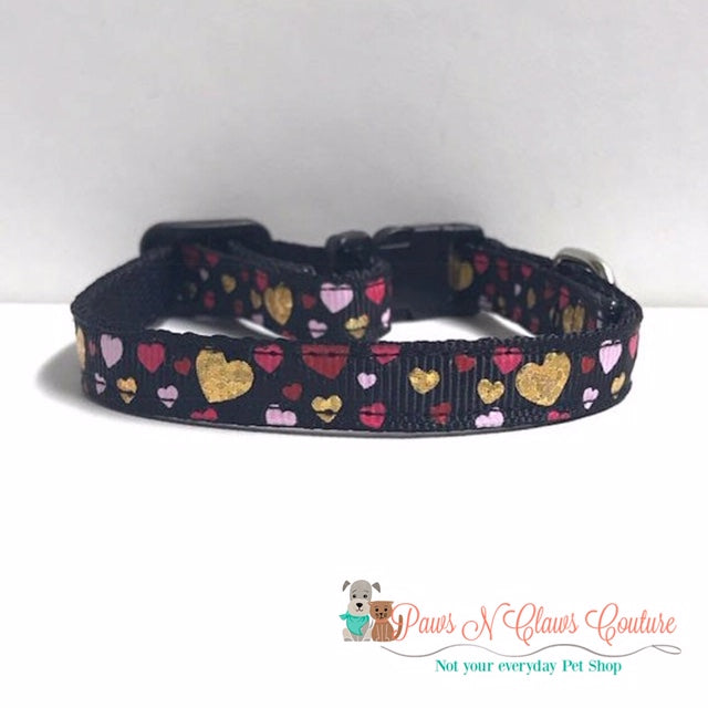 "3/8"" Golden Hearts Cat or Small Dog Collar - Paws N Claws Couture"