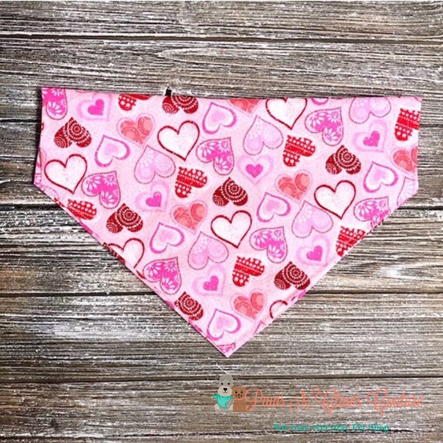 Glitter Pattern Hearts On Light Pink Bandana - Paws N Claws Couture