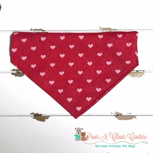 Glitter Mini Hearts on Red Bandana - Paws N Claws Couture
